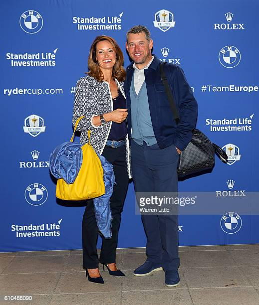 Lee Westwood of Europe poses with his girlfriend Helen Storey as they depart the Hilton London Heathrow Airport Terminal 5 ahead of the 2016 Ryder...