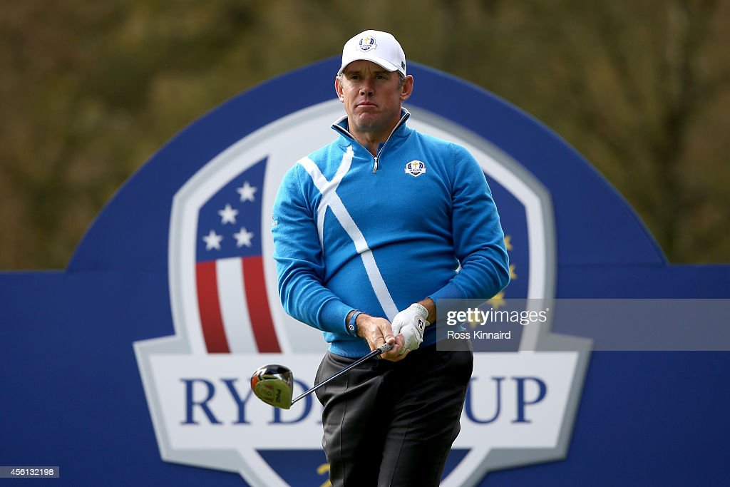 Lee Westwood of Europe tees off on the 7th tee during the Afternoon Foursomes of the 2014 Ryder Cup on the PGA Centenary course at the Gleneagles Hotel on September 26, 2014 in Auchterarder, Scotland.