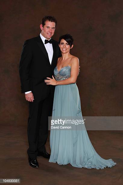 Lee Westwood of the European Ryder Cup team poses with his wife Laurae prior to the 2010 Ryder Cup Dinner at the Celtic Manor Resort on September 29,...