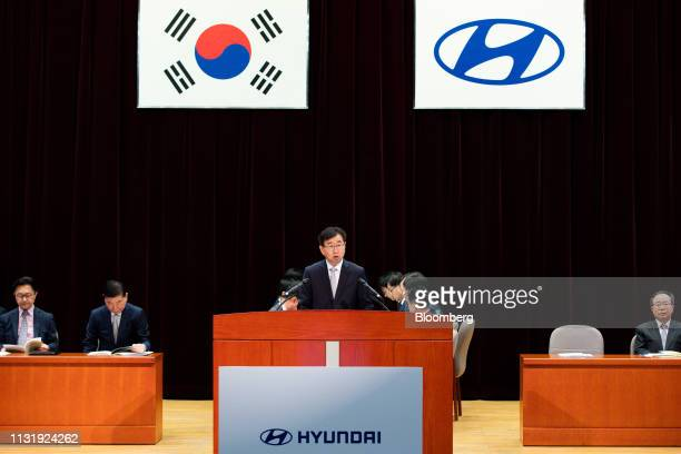 Lee Wonhee president and chief executive officer of Hyundai Motor Co speaks during the annual shareholders meeting at the company's headquarters in...