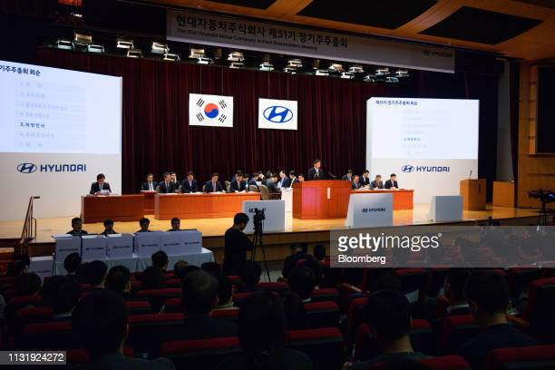 Lee Wonhee president and chief executive officer of Hyundai Motor Co center speaks during the annual shareholders meeting at the company's...