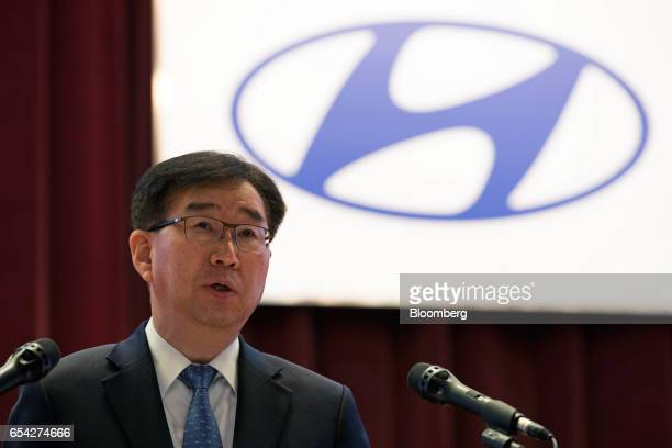 Lee Won-Hee, president of Hyundai Motor Co., speaks during the annual shareholders meeting at the company's headquarters in Seoul, South Korea, on...