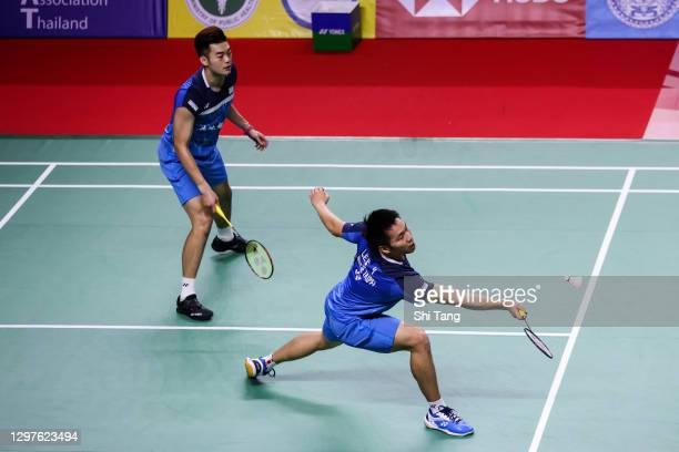 Lee Yang and Wang Chi-Lin of Chinese Taipei compete in the Men's Doubles second round match against Jason Anthony Ho-Shue and Nyl Yakura of Canada on...