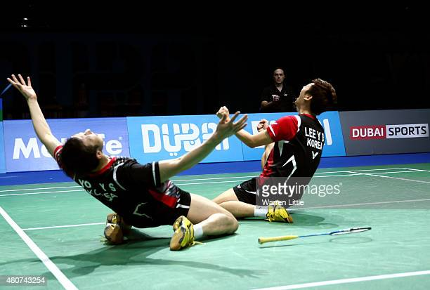 Lee Yong Dae and Yoo Yeon Seong of Korea celebrate beating Chai Biao and Hong Wei of China in the Men's Doubles Finals on day five of the BWF...
