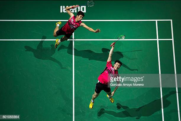 Lee Yong Dae and Yoo Yeon Seong of Korea in action in the Semifinal Men's Doubles match against Mohammad Ahsan and Hendra Setiawan of Indonesia...