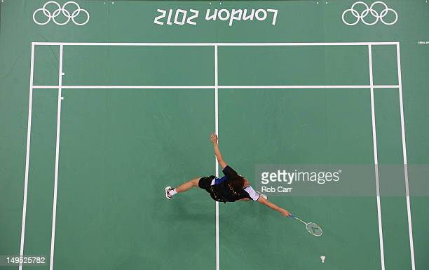 Lee Yong Dae of Korea in action during his Mixed Doubles Badminton match against Thomas Laybourn and Kamilla Rytter Juhl of Denmark on Day 3 of the...