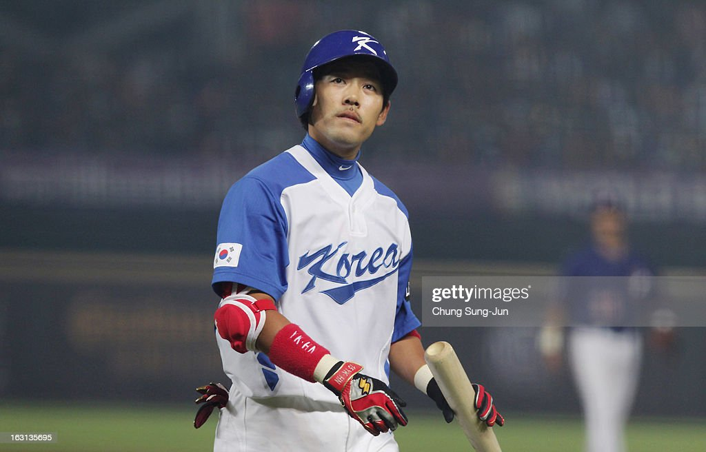 Lee Yong-Kyu of South Korea reacts after striking out in the fourth inning during the World Baseball Classic First Round Group B match between Chinese Taipei and South Korea at Intercontinental Baseball Stadium on March 5, 2013 in Taichung, Taiwan.