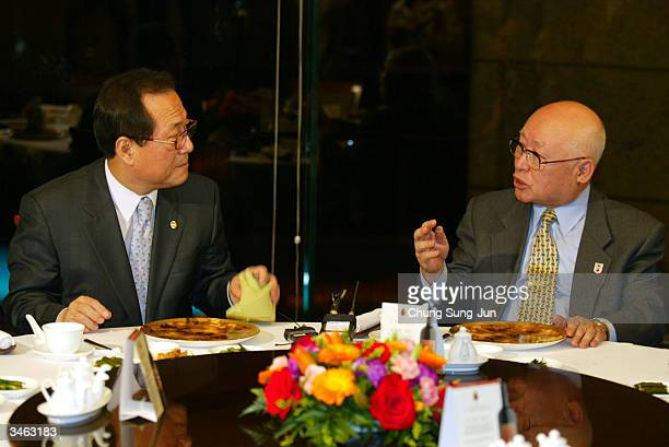 Lee YoonGu president of South Korean National Red Cross talks with South Korean Unification Minister Chung SeHyun at Plaza hotel on April 24 2004 in...