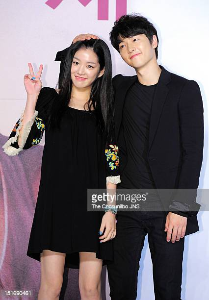Lee YuBi and Song JoongKi attend KBS 2TV 'The Innocent Man' Press Conference at Intercontinental hotel on September 5 2012 in Seoul South Korea