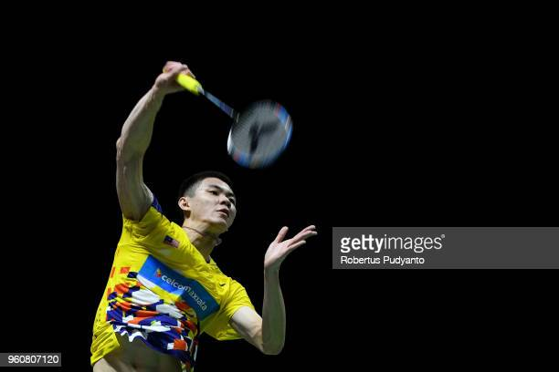 Lee Zii Jia of Malaysia competes against Sergey Sirant of Russia during Preliminary Round on day two of the BWF Thomas Uber Cup at Impact Arena on...