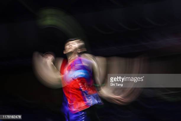 Lee Zii Jia of Malaysia competes in the Men's Singles first round match against Chen Long of China on day one of the China Open at Olympic Sports...