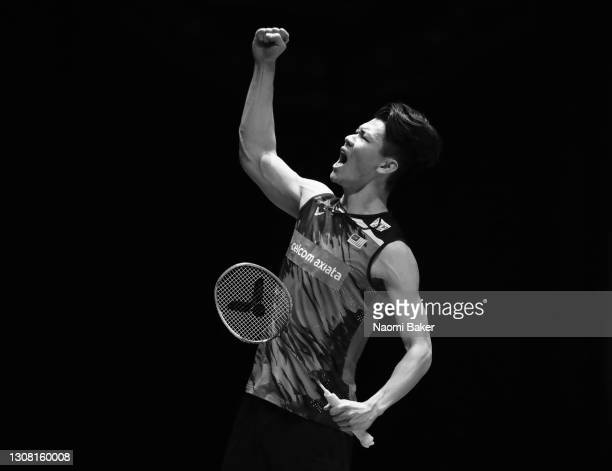 Lee Zii Jia of Malaysia walks celebrates match point after his victory in the Men's Singles Semi Final against with Mark Caljouw of The Netherlands...