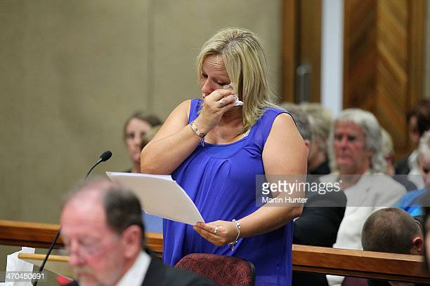 LeeAnn Cartier sister of Philip Nisbet reads her victim impact statement in court on February 20 2014 in Christchurch New Zealand In 2013 Helen...