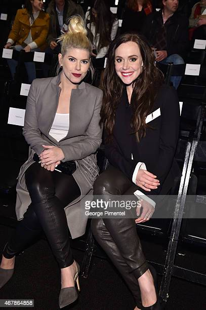 LeeAnn Cuthbert and Tessa Virtue attend World MasterCard Fashion Week Fall 2015 Collections Day 5 at David Pecaut Square on March 27 2015 in Toronto...