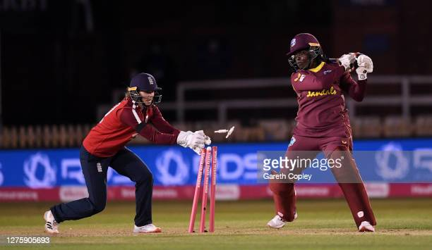 Lee-Ann Kirby of the West Indies is stumped by England wicketkeeper Amy Jones during the 2nd Vitality IT20 between England Women v West Indies Women...
