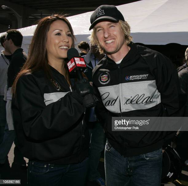 Leeann Tweeden and Owen Wilson during 3rd Annual Cadillac Super Bowl Grand Prix for Charity at CSX in Jacksonville Florida United States