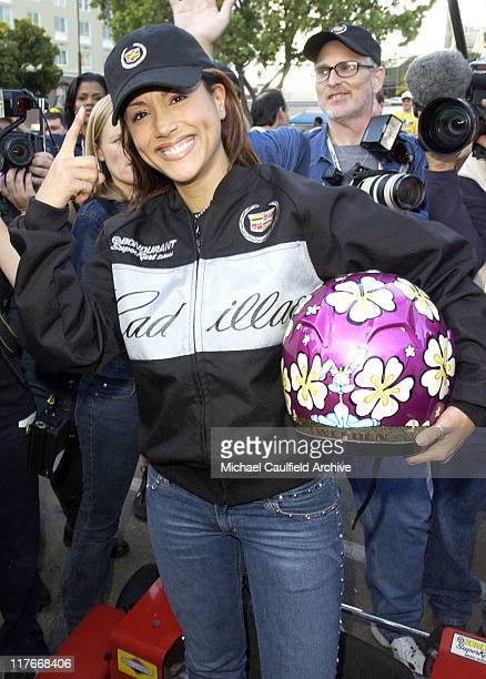Leeann Tweeden earns $15000 for the National Breast Cancer Organization after outracing the other racers at the Cadillac Super Bowl Grand Prix an...