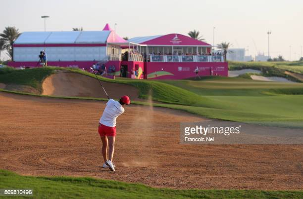 LeeAnne Pace of South Africa plays her second shot on the 18th hole during Day Three of the Fatima Bint Mubarak Ladies Open at Saadiyat Beach Golf...