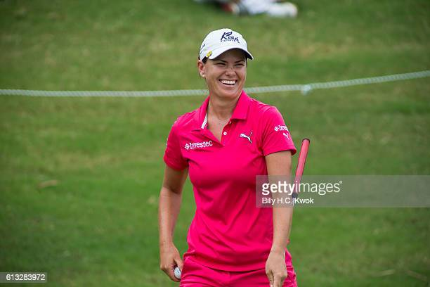 LeeAnne Pace of South Africa react during the Fubon Taiwan LPGA Championship on October 8 2016 in Taipei Taiwan