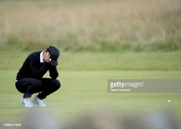 Lee-Anne Pace of South Africa waits in frustration at the slow pace of play to hit her second shot on the 18th hole during the second round of the...