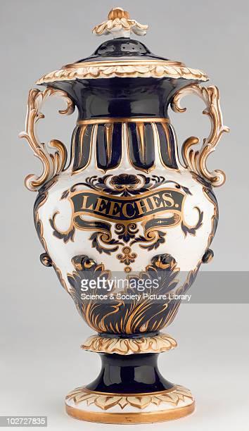 Leech jar England 19th Century Pharmacy leech jar ornate blue gilt earthenware by Alcock at Hill Pottery Burslem England 183159