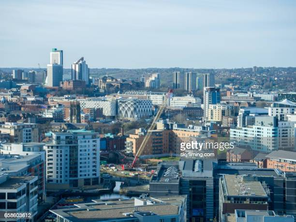 leeds aerial cityscape from south east looking north north east - leeds skyline stock photos and pictures