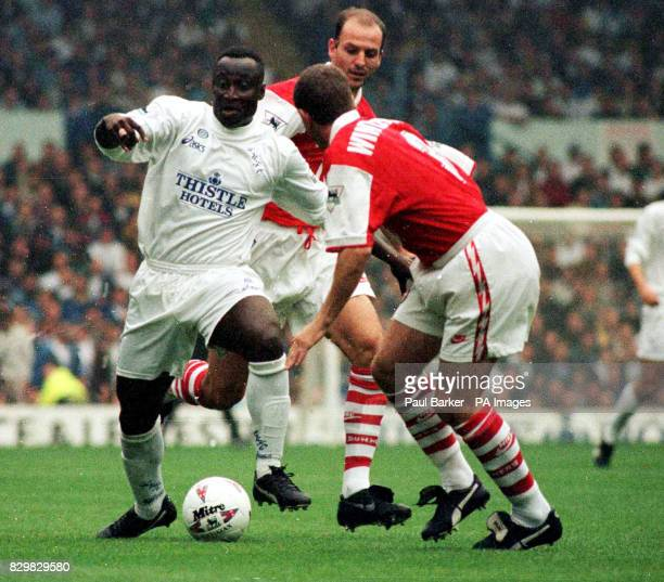 Leeds' Anthony Yeboah Carling's player of the month takes on the Arsenal defence during the first half of this afternoon's match at Elland Road Photo...