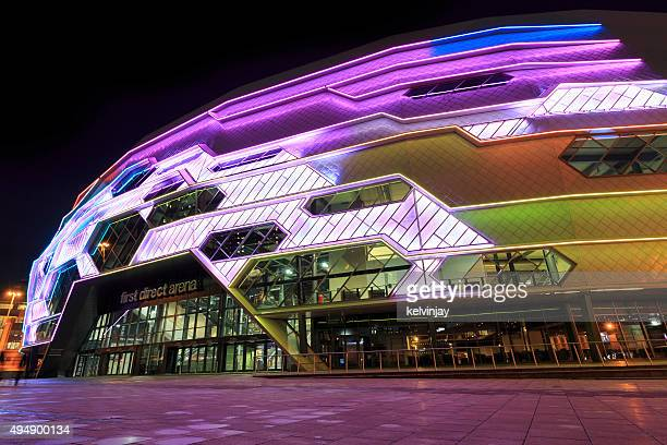 Leeds Arena exterior lit up at night