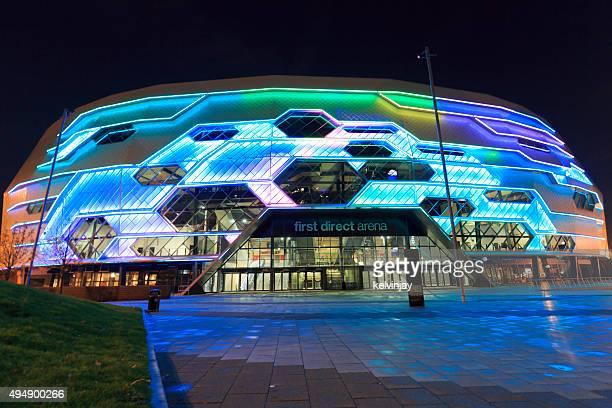 Leeds Arena exterior lit up at night