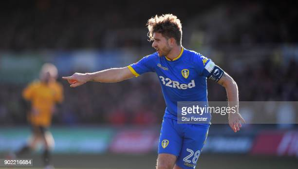 Leeds captain Gaetano Berardi in action during The Emirates FA Cup Third Round match between Newport County and Leeds United at Rodney Parade on...