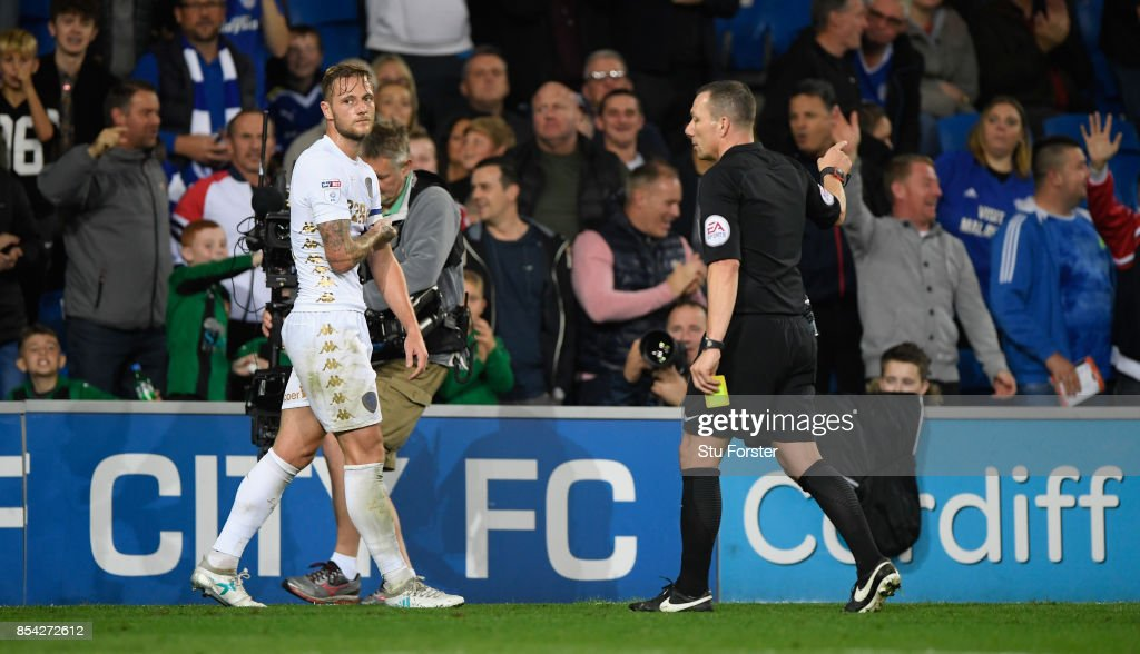 Leeds captain Liam Cooper is sent off by Kevin Friend after earning a second yellow card and a sending off during the Sky Bet Championship match between Cardiff City and Leeds United at Cardiff City Stadium on September 26, 2017 in Cardiff, Wales.