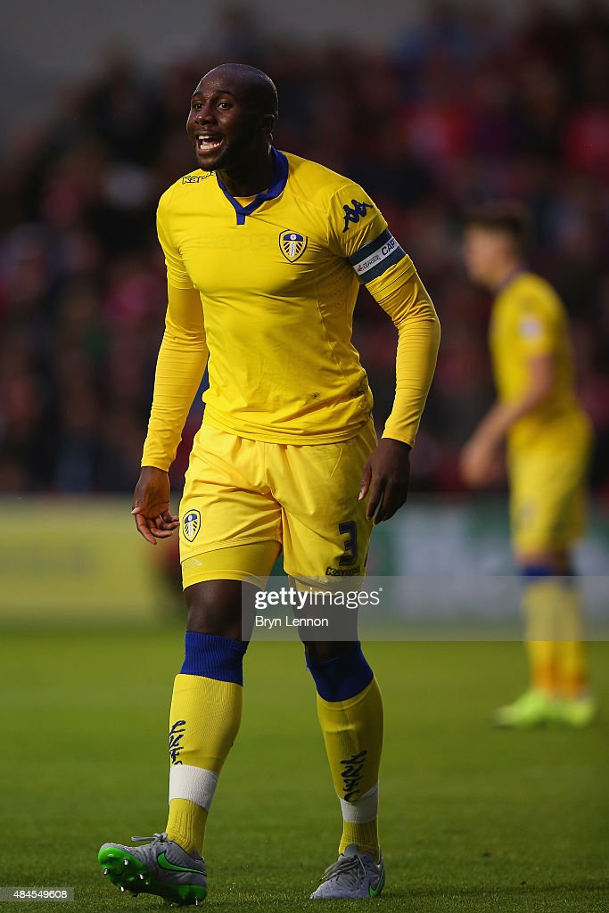 Leeds Captain Sol Bamba instructs his team during the Sky Bet Championship match between Bristol City and Leeds United at Ashton Gate on August 19, 2015 in Bristol, England.