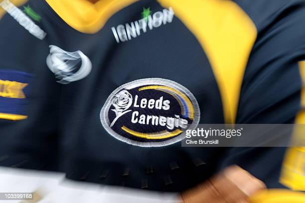 leeds carnige badge during the leeds carnegie photocall at