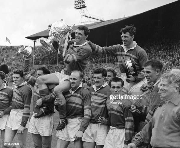 Leeds celebrate their 9 - 7 victory over Barrow in the Rugby League Cup Final at Wembley, 11th May 1957.