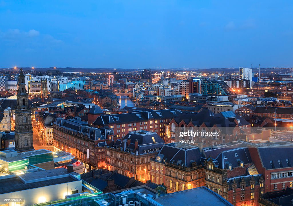 Leeds City Centre Skyline At Night High-Res Stock Photo ...