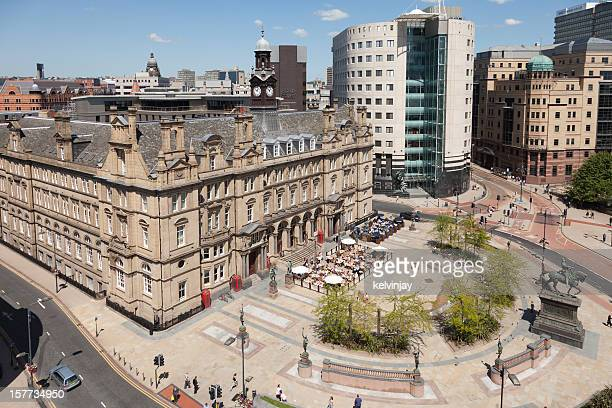 leeds city square - leeds skyline stock photos and pictures
