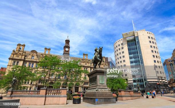 Leeds City Square,  showing the Black Prince statue, offices, bars and restaurants