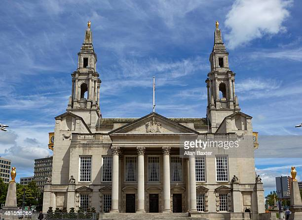 leeds civic hall against blue sky - leeds civic hall stock photos and pictures