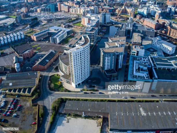 leeds docks aerial image - leeds skyline stock photos and pictures