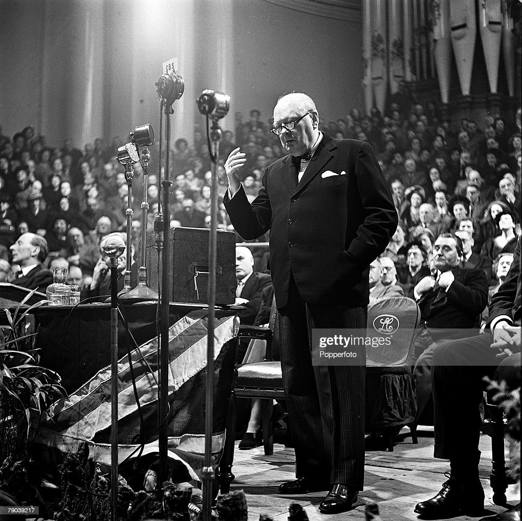 Leeds, England, 1950, Winston Churchill, Conservative politician and British Prime Minister between the years 1940-45, and 1951-55, is pictured making a speech
