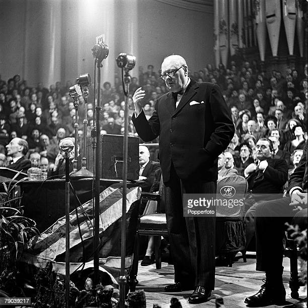 Leeds England Winston Churchill Conservative politician and British Prime Minister between the years 194045 and 195155 is pictured making a speech