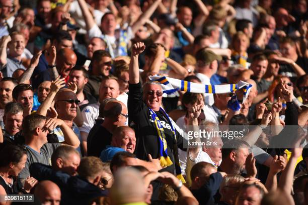 Leeds fan celebrates after they score during the Sky Bet Championship match between Nottingham Forest and Leeds United at City Ground on August 26...