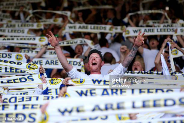 Leeds fans show their support prior to the Sky Bet Championship Play-off semi final second leg match between Leeds United and Derby County at Elland...