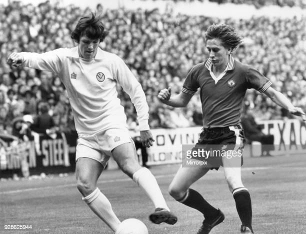 Leeds FC V Manchester United FC. Eddie Gray of Leeds beating a Manchester United defender. Score Leeds 1 - 2 Manchester United, League Division One,...