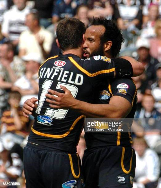 Leeds' first half try scorer Jamie Jones-Buchanan is congratulated by team mate Kevin Sinfield during the engage Super League match against Hull at...