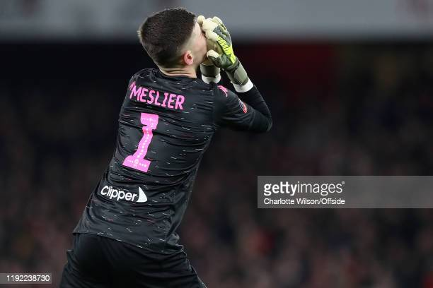 Leeds goalkeeper Ilian Meslier reacts after Leeds miss a chance during the FA Cup Third Round match between Arsenal and Leeds United at Emirates...