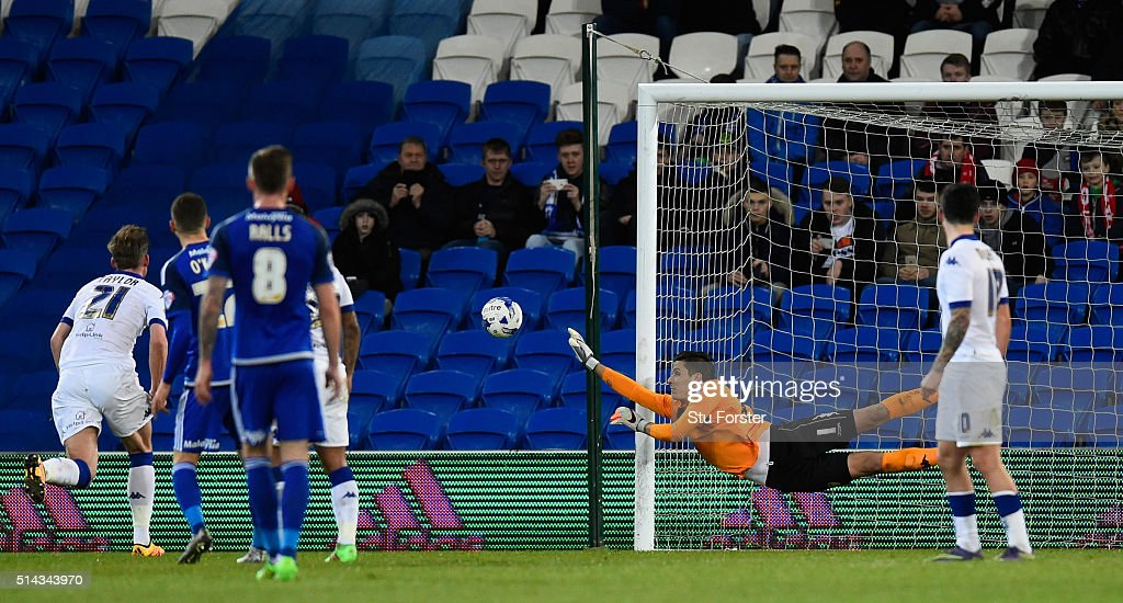 Leeds goalkeeper Marco Silvestre makes a diving save during the Sky Bet Championship match between Cardiff City and Leeds United at Cardiff City Stadium on March 8, 2016 in Cardiff, United Kingdom.