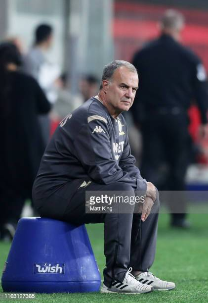 Leeds Inited manager Marcelo Bielsa looks on during the match between the Western Sydney Wanderers and Leeds United at Bankwest Stadium on July 20...