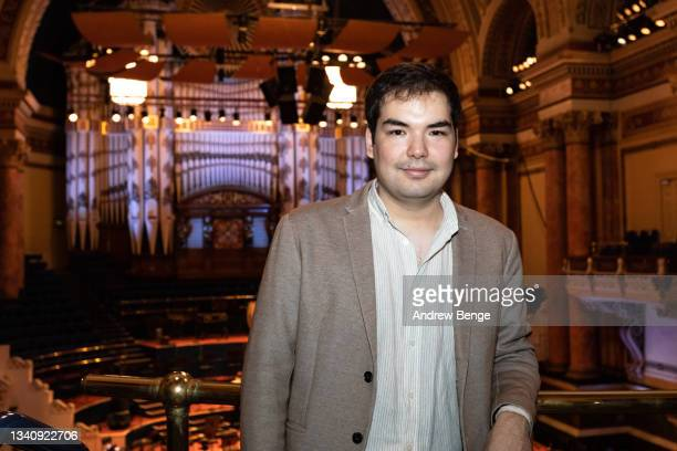 Leeds International Piano Competition finalist Alim Beisembayev from Kazakhstan poses in Leeds Town Hall during the Leeds Piano Trail 2021 on...