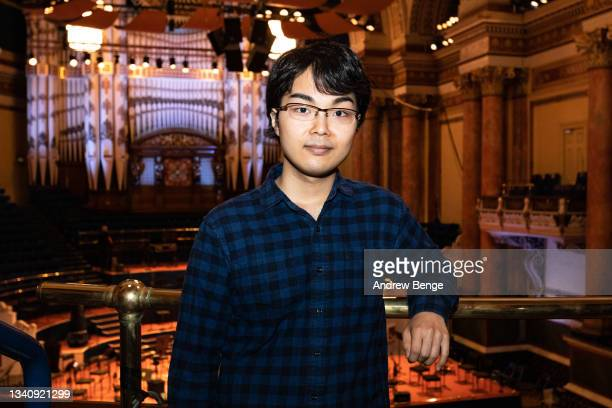 Leeds International Piano Competition finalist Kaito Kobayashi from Japan poses in Leeds Town Hall during the Leeds Piano Trail 2021 on September 17,...
